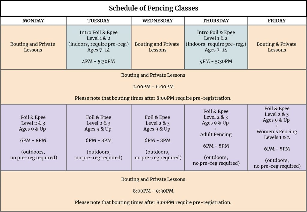 Schedule of Fencing Classes