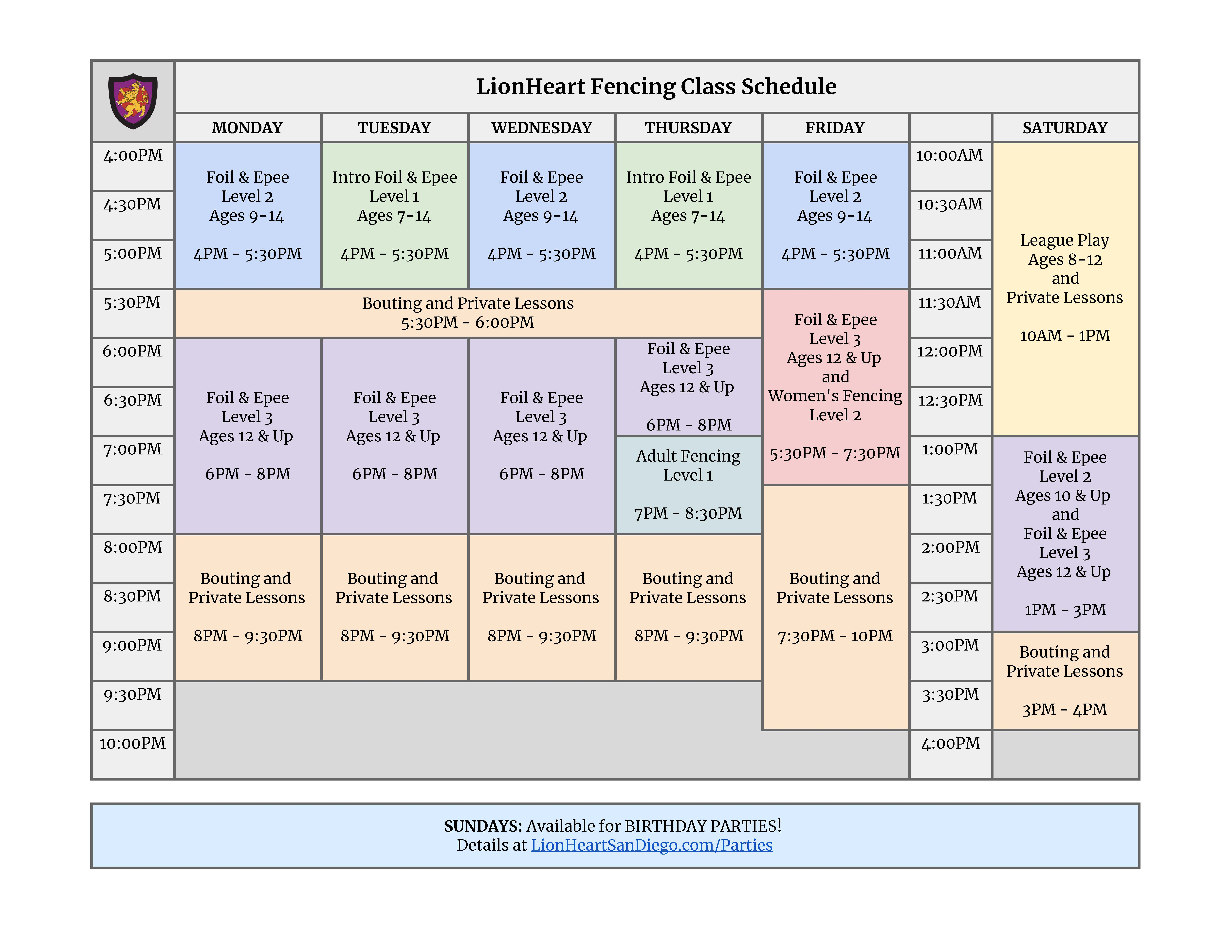 Fencing Lessons Schedule