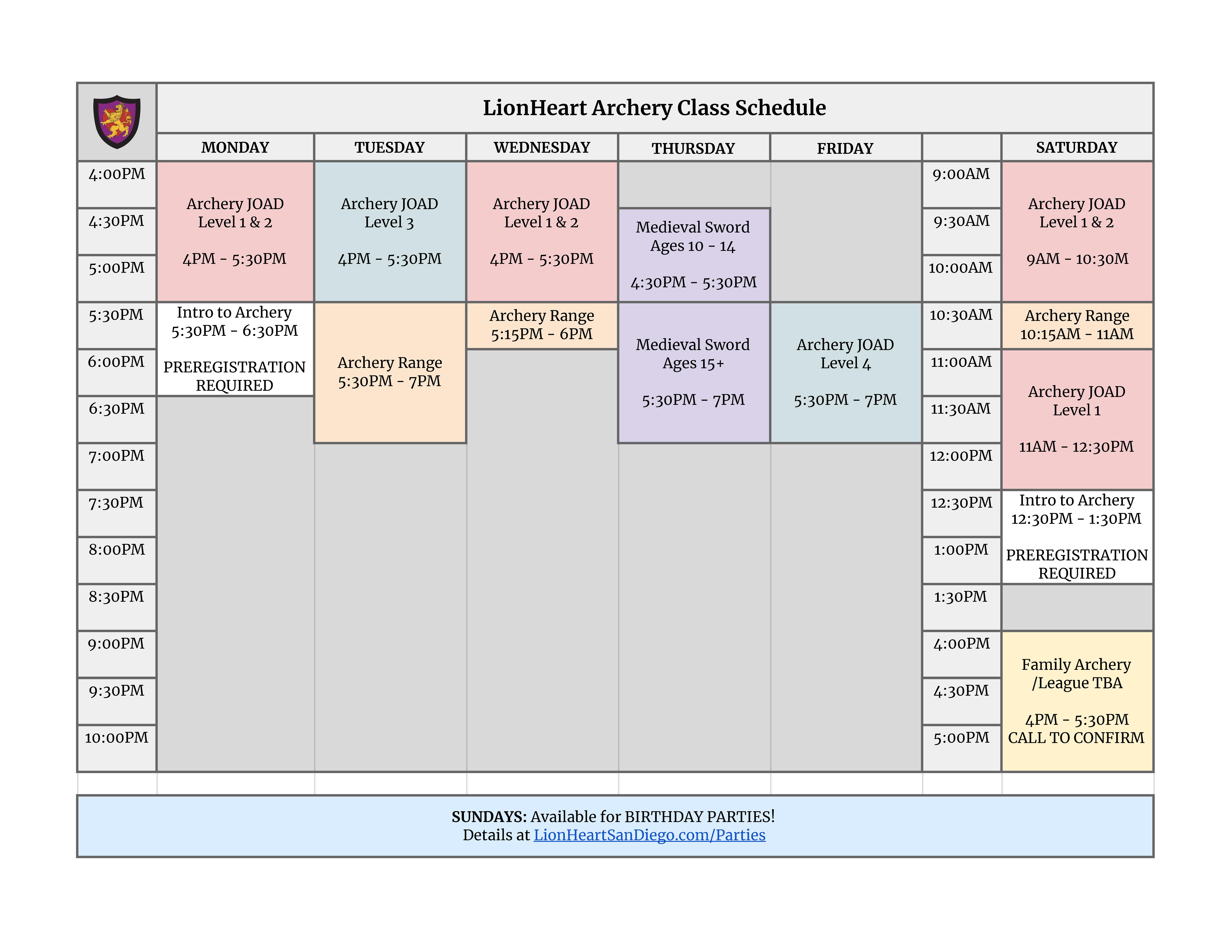 LionHeart Archery Schedule