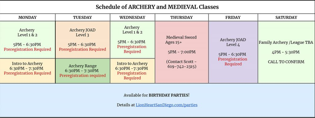 Schedule of Archery and Medieval Classes